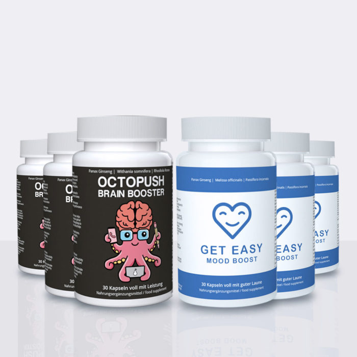 3x OCTOPUSH Brain Booster + 3x GET EASY Mood Booster